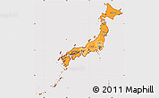 Political Shades Simple Map of Japan, cropped outside