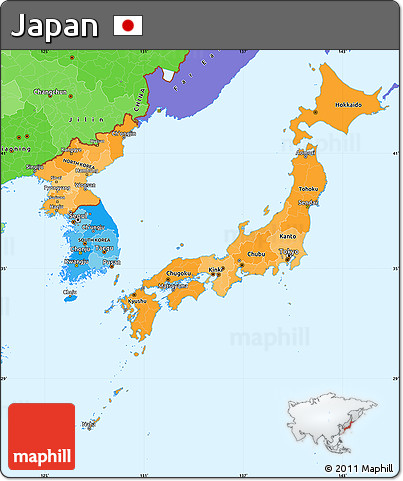 Political Shades Simple Map of Japan