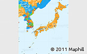 Political Shades Simple Map of Japan, political outside