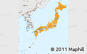 Political Shades Simple Map of Japan, single color outside, borders and labels