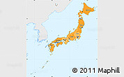 Political Shades Simple Map of Japan, single color outside