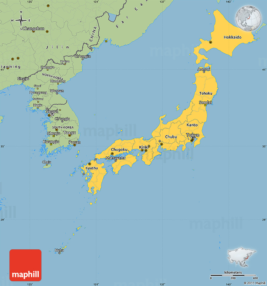 Savanna Style Simple Map of Japan
