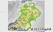 Physical Panoramic Map of Tohoku, desaturated
