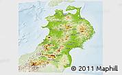 Physical Panoramic Map of Tohoku, lighten
