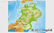 Physical Panoramic Map of Tohoku, political outside