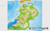 Physical Panoramic Map of Tohoku, political shades outside