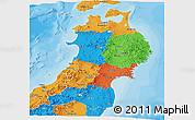 Political Panoramic Map of Tohoku