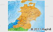 Political Shades Panoramic Map of Tohoku
