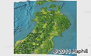 Satellite Panoramic Map of Tohoku