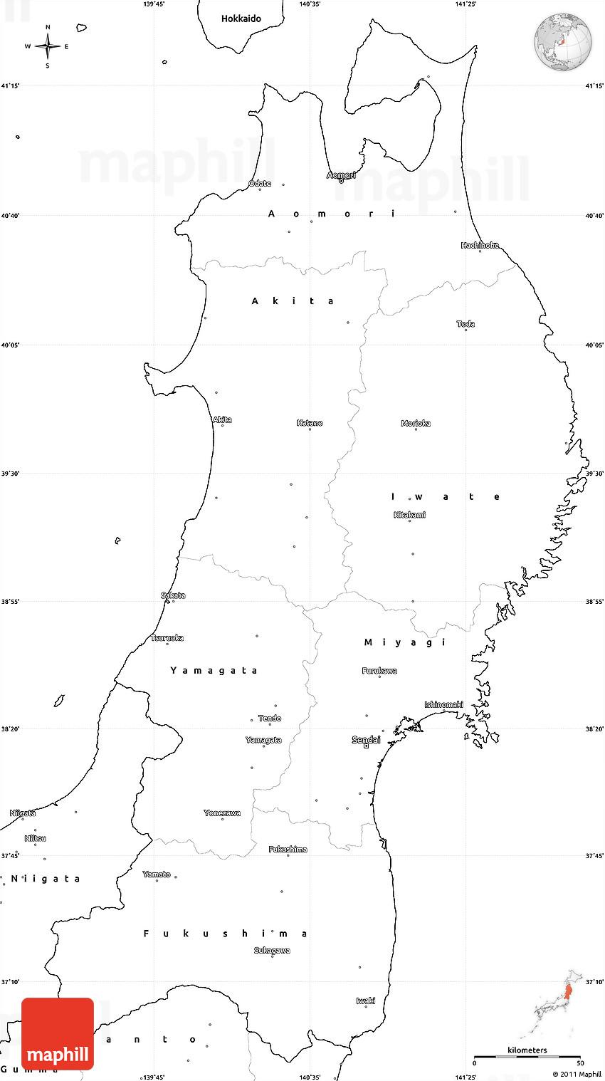 Blank Simple Map Of Tohoku - Japan map blank outline