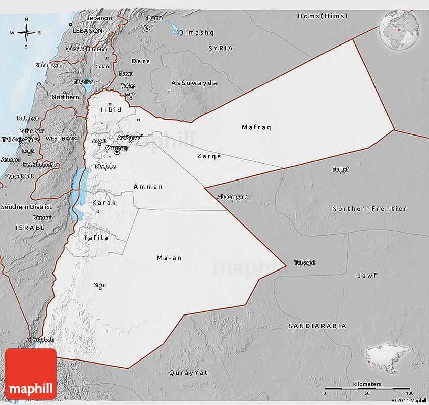 Gray 3D Map of Jordan