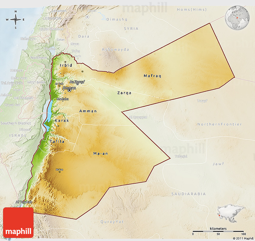 Physical 3D Map of Jordan lighten