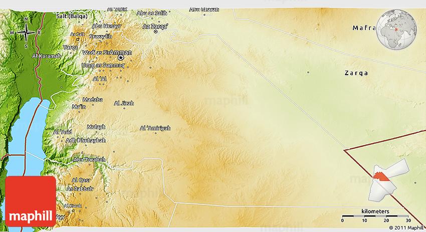 Jordan Map Map Of Jordan Jordan Map In English: Physical 3D Map Of Amman