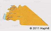 Political 3D Map of Amman, cropped outside