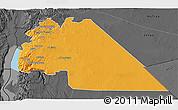Political 3D Map of Amman, darken, desaturated