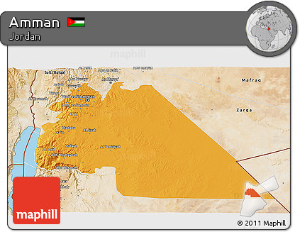 Political 3D Map of Amman, satellite outside