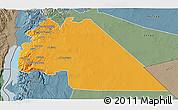 Political 3D Map of Amman, semi-desaturated