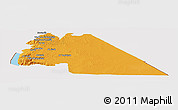 Political Panoramic Map of Amman, cropped outside