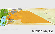 Political Panoramic Map of Amman, physical outside