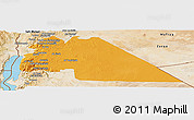 Political Panoramic Map of Amman, satellite outside