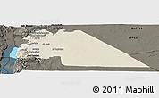 Shaded Relief Panoramic Map of Amman, darken