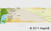 Shaded Relief Panoramic Map of Amman, physical outside