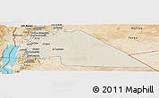 Shaded Relief Panoramic Map of Amman, satellite outside