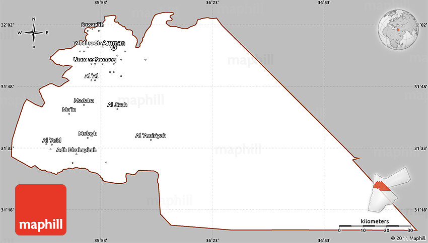Gray Simple Map of Amman, cropped outside