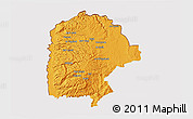 Political 3D Map of Irbid, cropped outside