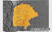 Political 3D Map of Irbid, darken, desaturated