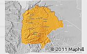 Political 3D Map of Irbid, lighten, desaturated