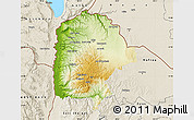 Physical Map of Irbid, shaded relief outside