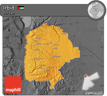 Free Political Map of Irbid darken desaturated