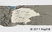 Shaded Relief Panoramic Map of Irbid, darken
