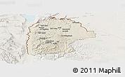 Shaded Relief Panoramic Map of Irbid, lighten