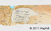 Shaded Relief Panoramic Map of Irbid, satellite outside