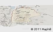 Shaded Relief Panoramic Map of Irbid, semi-desaturated