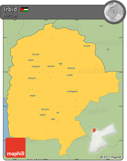 Free Savanna Style Simple Map of Irbid