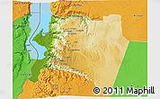 Physical 3D Map of Karak, political outside