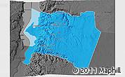 Political 3D Map of Karak, darken, desaturated