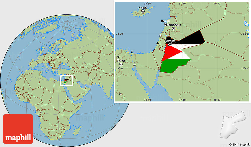Flag Location Map of Jordan, savanna style outside