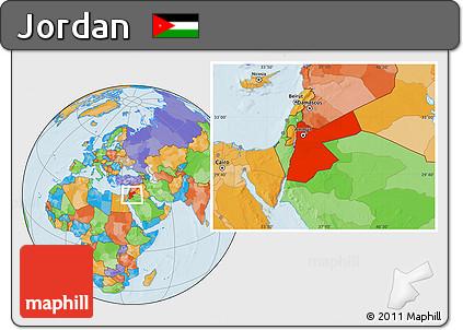 Free Political Location Map of Jordan