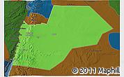 Political 3D Map of Ma-an, darken
