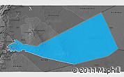 Political 3D Map of Mafraq, darken, desaturated
