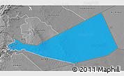 Political 3D Map of Mafraq, desaturated