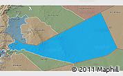 Political 3D Map of Mafraq, semi-desaturated