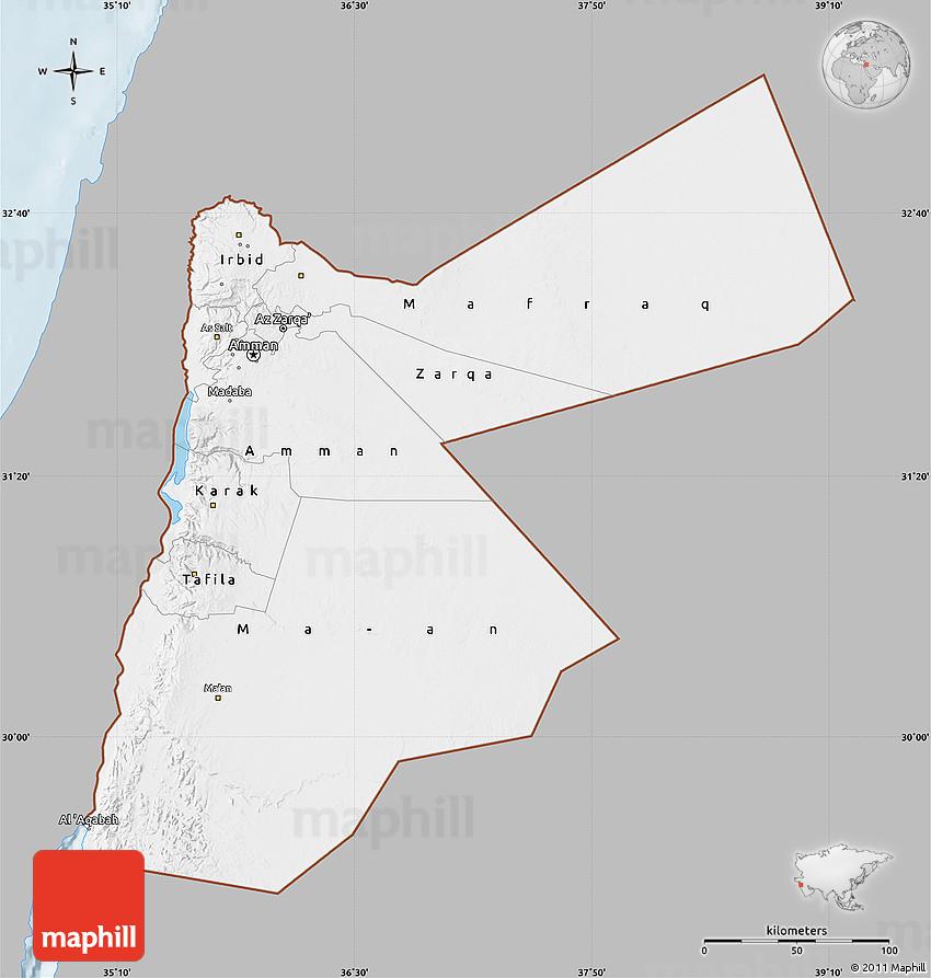 Gray Map of Jordan single color outside