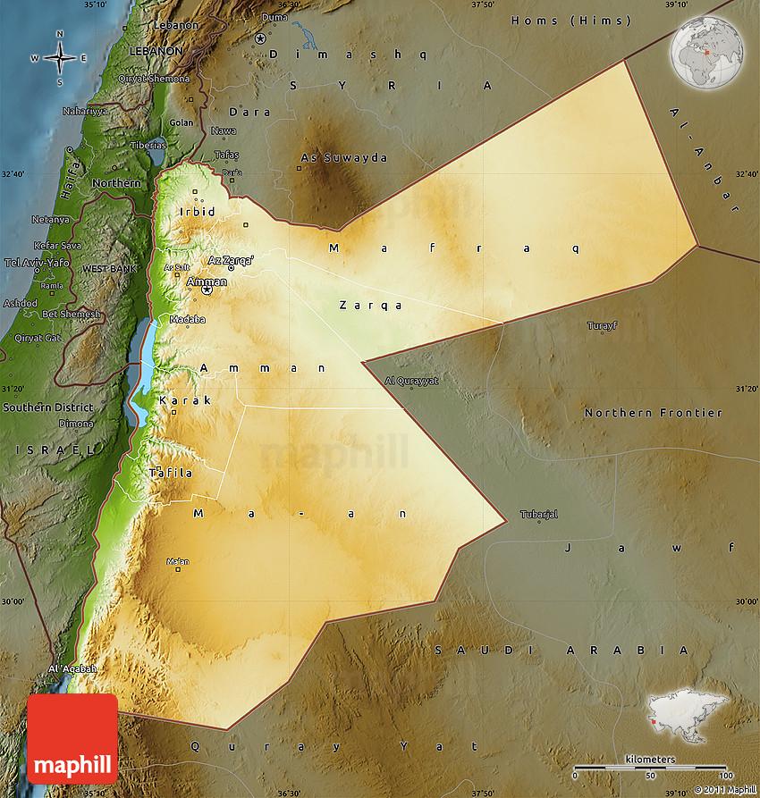 Physical Map of Jordan darken