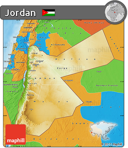 Jordan Political Map.Free Physical Map Of Jordan Political Outside Shaded Relief Sea