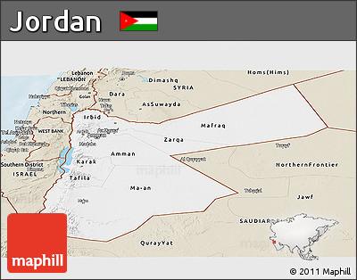 Classic Style Panoramic Map of Jordan